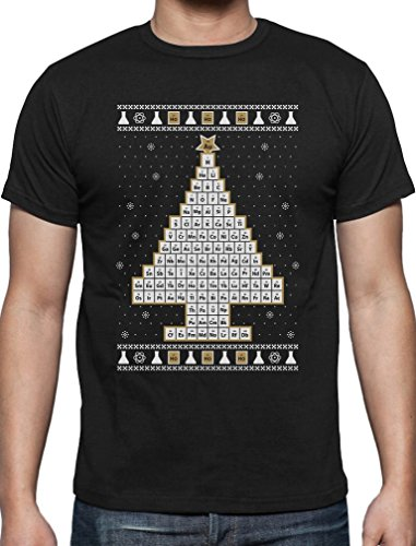 Chemie Periodensystem Weihnachtsbaum Ugly Christmas Style T-Shirt X-Large Schwarz