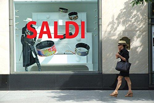 Adhesivo para ventana de escaparate con texto en francés 'Saldi', para tiendas, tiendas, tiendas, eventos, venta 150 x 50 cm. Adesivo4You.