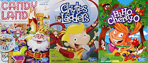 Multiple by Hasbro Candy Land, Chutes and Ladders and Hi Ho Cherry-O Board Game Bundle