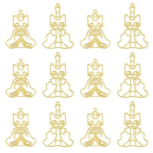 レジン枠 空枠 MUNCVY フレーム パーツ ゴールド 2種12個 セット uvクラフト 大量 カン付き ネコ型ひな人形 カワイイ動物 セッティング アクセサリーパーツ から枠 ペンダント ハンドメイド 手作り uvレジン