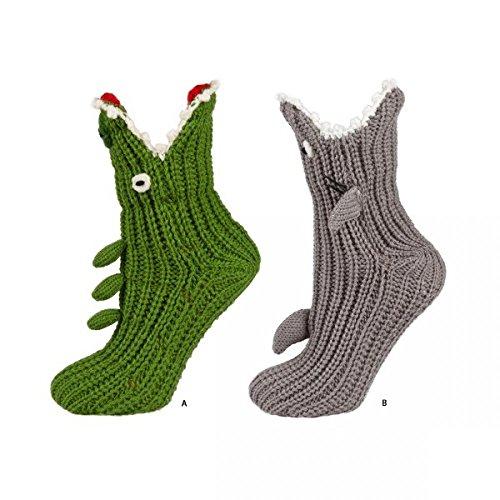 soxo Kinderhausschuhe Unisex Mädchen Jungen Socken Gestrickte Hausschuhe (29-30, Grau)