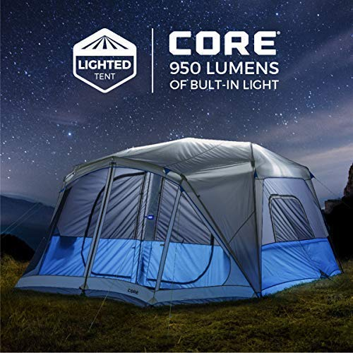 Core Lighted 10 Person Instant Cabin Tent with Screen Room