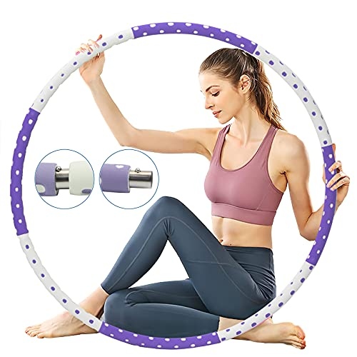 MKAS Adults Exercise Weighted Hula Hoop 3-5 lbs for Women Workout Hula-Hoop Slimming Weight Loss Hula Hoop 8 Sections Adjustable Fitness Hoop with Soft Foam Padded Design