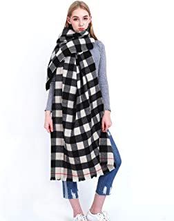 Women's Scarf, Plaid Check Fashion Scarves Soft Fabrics Luxurious Touch Shawl Neckerchief Dual-Use Women's Scarves Cold Size 80 * 200Cm
