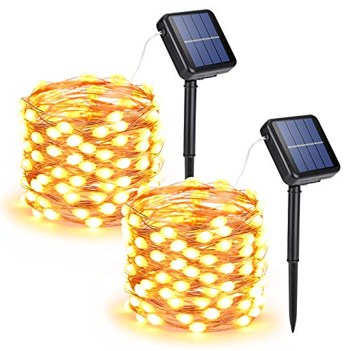 Joomer Solar String Lights Outdoor, 2-Pack Each 33FT 100 LED Super Bright Solar Lights Outdoor, Waterproof Copper Wire 8 Modes Solar Fairy Lights for Garden Patio Tree Party Wedding (Warm White)