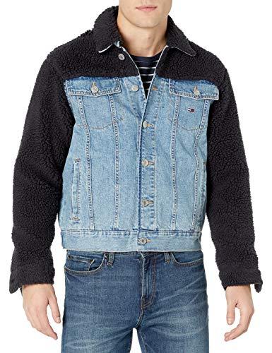 Tommy Hilfiger Men's THD Sherpa Jean Jacket, Light wash/Multi, SM