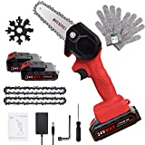 Mini Chainsaw, 4-Inch Rechargeable Mini Lithium Chainsaw with 2 Batteries, Cordless Mini Electric Chainsaw for Courtyard Tree Branch Wood Cutting