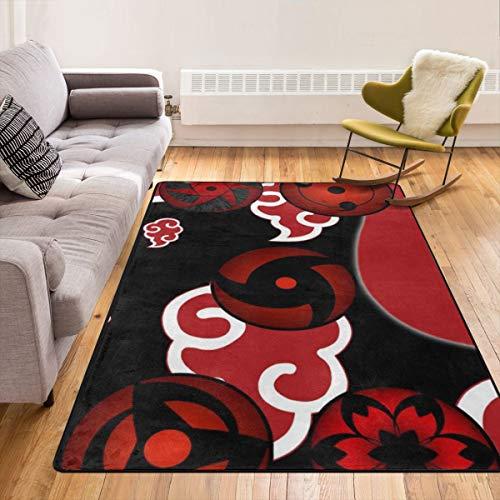 Caimizogojocrz Naruto Sharingan Teppich, rutschfeste Bodenmatte, Türmatten für Wohnzimmer, Schlafzimmer, Kinder zum Spielen im Innenbereich, 213,4 x 152,4 cm