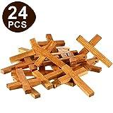 24 Piezas Cruz de Madera Natural Colgantes Cruz de Madera Cuentas de Mini Cruzadas para DIY Artesanía Joyería Fabricación (Color 2)
