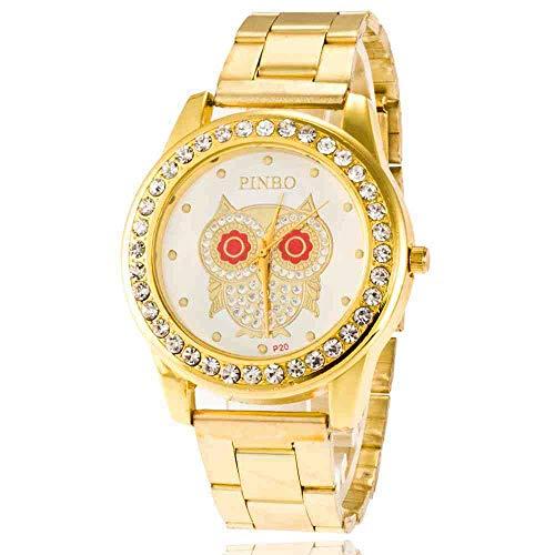 DSNGZ Reloj de Pulsera Leisure Business Reloj de Correa de Metal de Acero para Hombre de Gama Alta Reloj de Acero Inoxidable con Ojos Rojos y búho de Diamantes