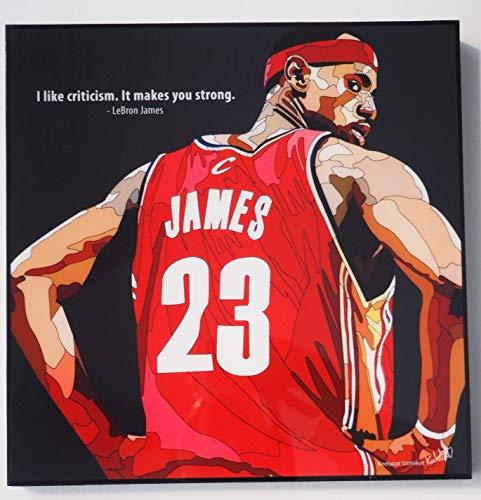 Glagoods Tela con cornice di LeBron James delle squadre di NBA Miami Heat e LA Lakers, poster in vinile, pop art con citazioni regalo