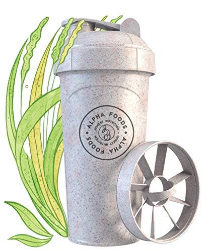 Alpha Shaker | Aus nachwachsenden pflanzlichen Rohstoffen | Erstklassige Mischfunktion für super cremige Fitness Eiweiß Shakes, Proteinshake Becher | 700ml Fassungsvermögen