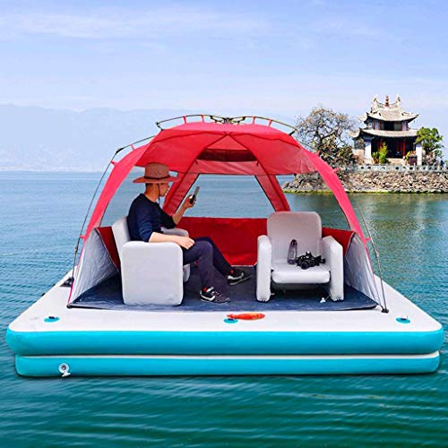 SHJR Mejorada Versión Flotante Isla Balsa | Balsa de Pesca | Hinchables Colchonetas | Flotador de Piscina Inflable Gigante | 4-6 Personas | Ideal para Piscina, Lago, Río,M2