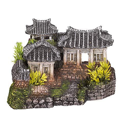 VADIGRAN - Temple Asiatique, décoration Aquarium, Taille 190 x 150 x 120 mm. - VA-15174