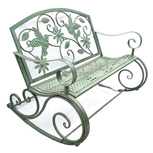 Terrace Garden Park Bench Outdoor Leisure Rocking Chair, Weatherproof and Rustproof Cast Iron Courtyard Bench, 2-seater Bench with Backrest and Armrests, Retro Decorative Benches for Lawns