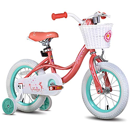 JOYSTAR 18 Inch Kids Bike for Girls, Child Bicycle for 5 6 7 8 9 Years Old, Kids Bicycle with Basket & Training Wheels, Kids Cycle, Coral Pink