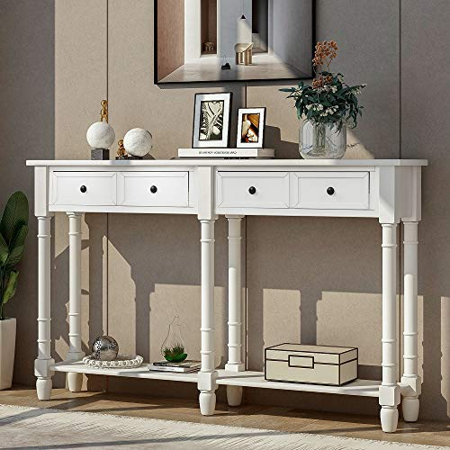 Rhomtree Long Sofa Table Entertainment Console Table with Drawers and Shelves Country Style Living Room Entryway Hallway Furniture (White)