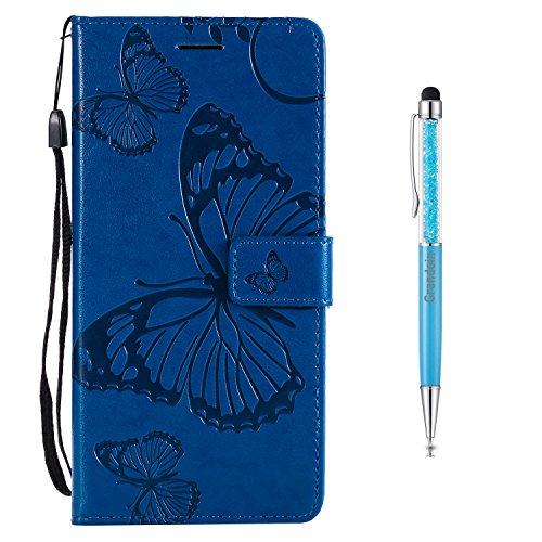 Grandoin LG K8 2017 Hülle, Handyhülle im Brieftasche-Stil für LG K8 2017 Handytasche PU Leder Flip Cover Schmetterling Muster Design Premium Schutzhülle Etui (Blau)