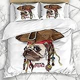 Juego de funda de edredón para cachorro, marrón, perro y cachorro, sombrero pirata, bandana, salvaje, divertido diseño de...