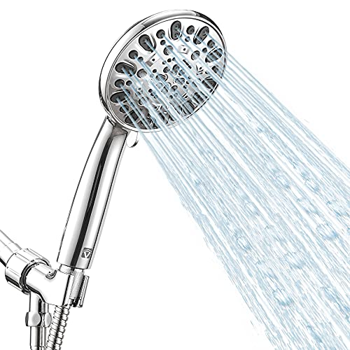 """High Pressure Handheld Shower Head VMASSTONE 7-Spray Setting Showerhead Kit with 59"""" Stainless Steel Hose and Adjustable Mount for Showering Enjoyment Even at Low Water Flow (HM-002 Chrome)"""