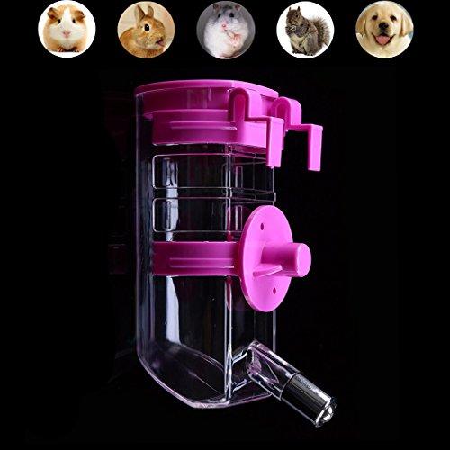 Luniquz 350ML Haustier Trinkflasche Kleintiertränke Nagertrinkflasche mit Halter Befestigung am Gitter für kleintiere/kleinhunde/kleinkatzen (Blau)