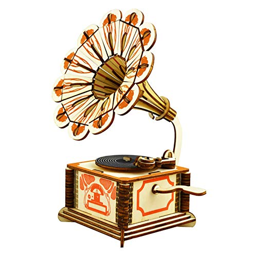 Wooden Phonograph Music Box 3D Wooden Puzzle Toy Creative Assembling Model Retro Music Box Best Gifts for Christmas, Birthday, Valentines and Home Decor