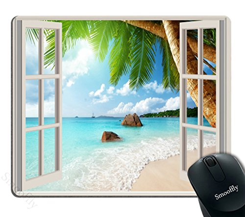 Smooffly Gaming Mouse Pad Custom,Sea Wonderful View Ocean Sunshine Splendor Paradise Palm with White Wooden Windows Mouse pad 9.5 X 7.9 Inch