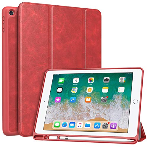 MoKo Case for iPad 9.7 2018 with Pencil Holder - Slim Lightweight Smart Shell Stand Cover Case with Auto Wake/Sleep for iPad 9.7 Inch 2018 Released Tablet (A1893 / A1954), Red