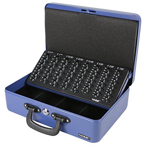 HMF 22037-05 Geldkassette Geldzählkassette 2 Tragegriffe, 36 x 25 x 11 cm, blau