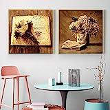 Pintura sobre lienzo Arte de pared Retro Clásico Libro de flores Impresión Carteles e imágenes nórdicos para la decoración del hogar del dormitorio-40x60cmx2 Sin marco