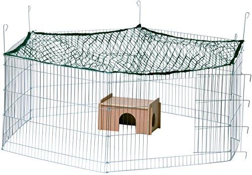 dobar 80605 Großes Kaninchengehege aus 6 Elementen, mit Nylon Netz und Holzhaus, XXL Freilauf für Hasen, Freilaufgehege XL, 165 x 145 x 60 cm, Silber