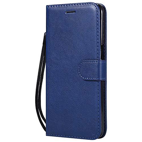 Hülle für Moto Z3 / Z3 Play Hülle Handyhülle [Standfunktion] [Kartenfach] Tasche Flip Hülle Cover Etui Schutzhülle lederhülle flip case für Motorola Moto Z3 Play - DEKT051406 Blau