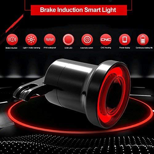 Teepao Fanale posteriore per bicicletta, ricaricabile tramite USB, super luminoso, 3 modalità, impermeabile IPx6, luce COB di sicurezza (guscio in lega di alluminio)
