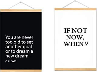 2PCS-Motivational Posters for Office Decor, College Dorm, Teachers, Classroom, Gym Workout and School! Magnetic Poster Frame,Great Inspirational Wall Art Posters (WHITE3)