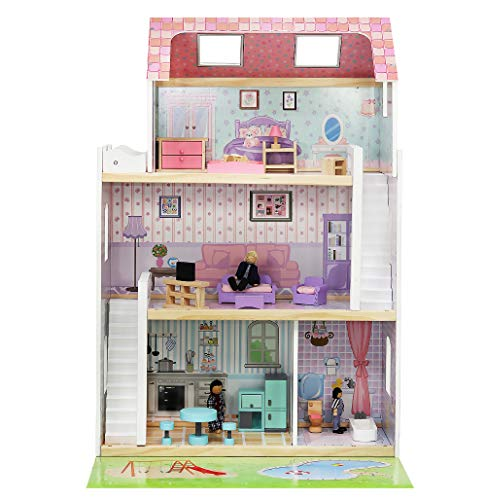 MALATEC Großes Puppenhaus aus Holz Zubehör Traumhaus 4 Zimmer 3 Ebenen Garten Pool 6858