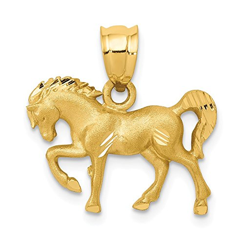 14k Yellow Gold Horse Pendant Charm Necklace Animal Fine Jewelry For Women Gifts For Her