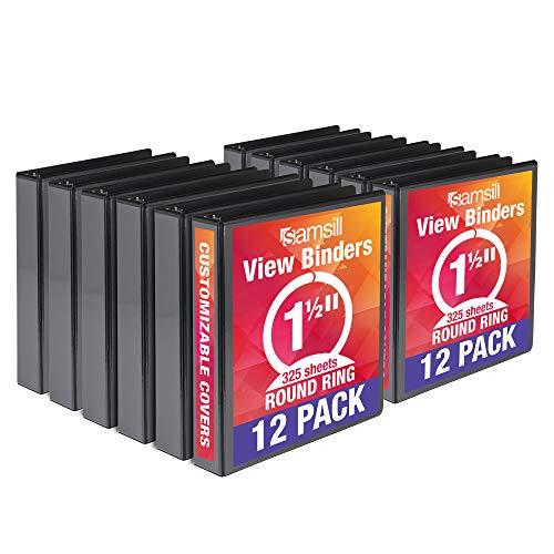 Samsill Economy 3 Ring Binder Organizer, 1.5 Inch Round Ring Binder, Customizable Clear View Cover, Black Bulk Binder 12 Pack (MP128550)