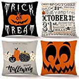 ZJHAI Halloween Pillow Covers 18×18 Inch Set of 4 Trick or Treat Pumpkin Pillow Covers Holiday Rustic Linen Pillow Case for Sofa Couch Halloween Decorations Throw Pillow Covers