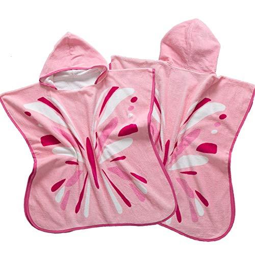 Kind Poncho Handdoek voor Strand Roze Vlinder Patroon Children's Badjas Organisch Katoen Kind Baby Wetsuit Badpak Veranderende Handdoek Beach Badjas Robe Strand Hooded Badhanddoek Unisex 1-6 Jaar zachtheid