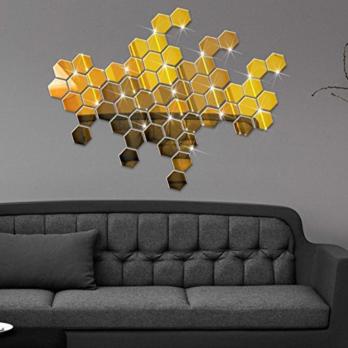 Hunpta@ 12 Stück Spiegel Wandaufkleber Aufkleber DIY 3D Hexagon Acryl Moderne Kunst Deko Spiegel Selbstklebend Wandsticker Wandtatoo Wohnzimmer Schlafzimmer Wanddeko Haus Dekoration