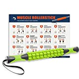 Muscle Roller, Kamileo Massage Roller Stick for Relieving Muscle Soreness Cramping Tightness Athletes Legs Back Calf Body Joints Recovery Therapy Tool(Manual, Workout Poster) - Fluorescent Green