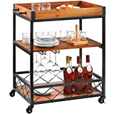 kealive Bar Cart for Home, Rolling Metal Wood Wine Cart with Handle Rack, Glass Holder, 4 Hooker and...