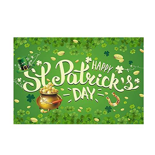 Happy St. Patrick's Day Carpet,Irish Holiday Anti-slip Doormats Home Decor Shamrocks Lucky Carpets Living Room Bedroom Floor Mats (A, 60x40cm)