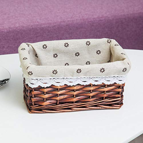Storage Box with lid,Square Wicker Storage Basket Rattan Table top Sundries Sorting Basket-H_22*13 * 10