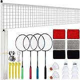 Ensemble de Raquettes de Badminton 4 Pièces Raquettes de Badminton avec 8 Pièces Volants Filets 3 Paires Bracelets de Poignet Ensembles Complets de Volant de Badminton pour Sports de Plein Air