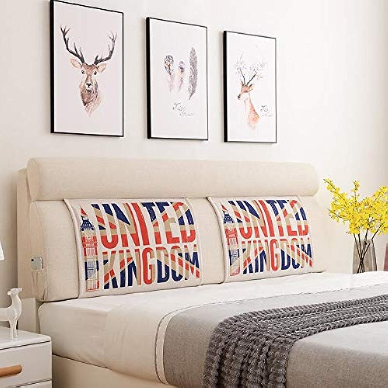 SJJOZZ Dossier Nordic Wind Bed Cushion Soft Pack Lit Double Lit Grand Dossier Coussin Lombaire Coussin (Couleur   A, Taille   150x60x12cm)