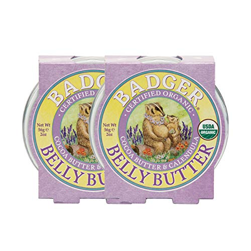 Badger - Belly Butter, Cocoa Butter & Calendula, Certified Organic Belly Butter, Vitamin E Belly Butter, Coconut Oil Belly Butter, Pregnant Belly Butter for Stretched Skin, 2oz - 2-Pack