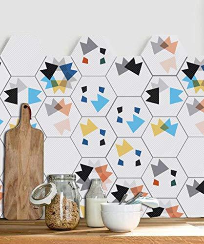 ZYT 20 PCS Adhesif Mural Traditionnel Tuile des Autocollants pour Salle de Bains Et Cuisine Dosseret Décoration (20x20cm) Imperméable Amovible Stickers muraux hexagone Décalcomanies