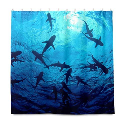 RELEESSS Duschvorhang Ocean Shark Wasserdicht Badezimmer Gardinen mit Haken 182 x 182 cm