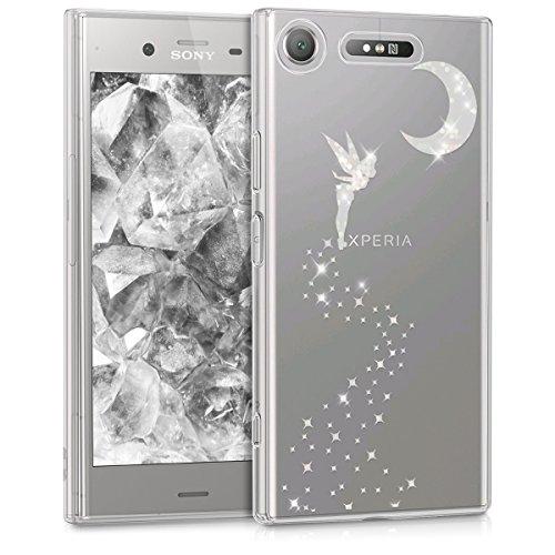 kwmobile Hülle kompatibel mit Sony Xperia XZ1 - Handyhülle - Handy Hülle Fee Glitzer Silber Transparent